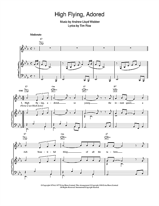 Andrew Lloyd Webber High Flying, Adored (from Evita) sheet music notes and chords. Download Printable PDF.