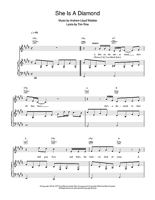 Andrew Lloyd Webber She Is A Diamond (from Evita) sheet music notes and chords. Download Printable PDF.