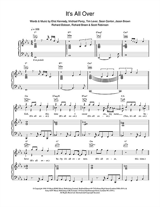 Five Its All Over sheet music notes and chords. Download Printable PDF.