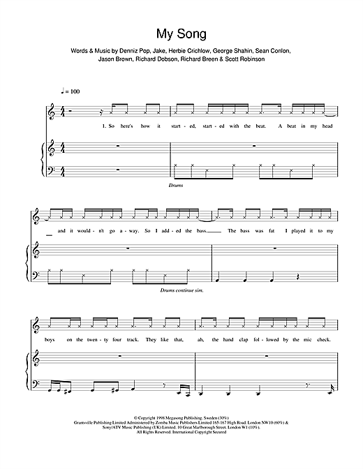 Five My Song sheet music notes and chords. Download Printable PDF.