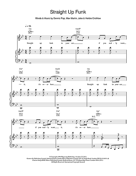Five Straight Up Funk sheet music notes and chords. Download Printable PDF.