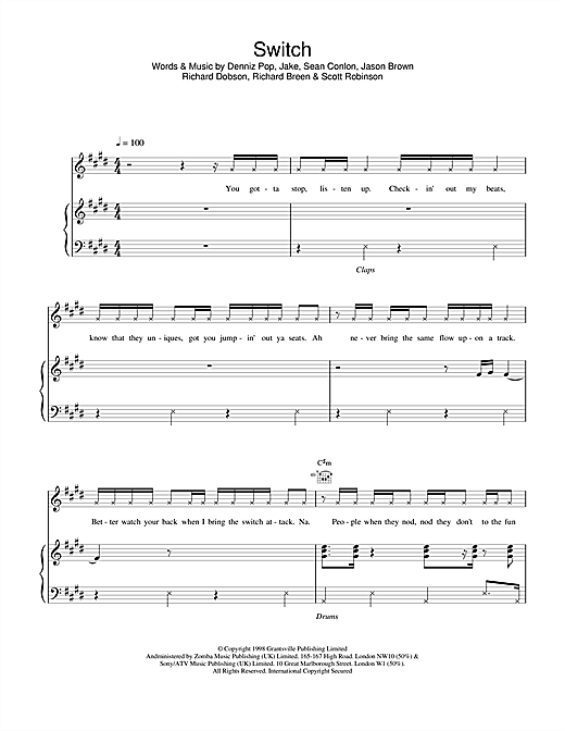 Five Switch sheet music notes and chords. Download Printable PDF.