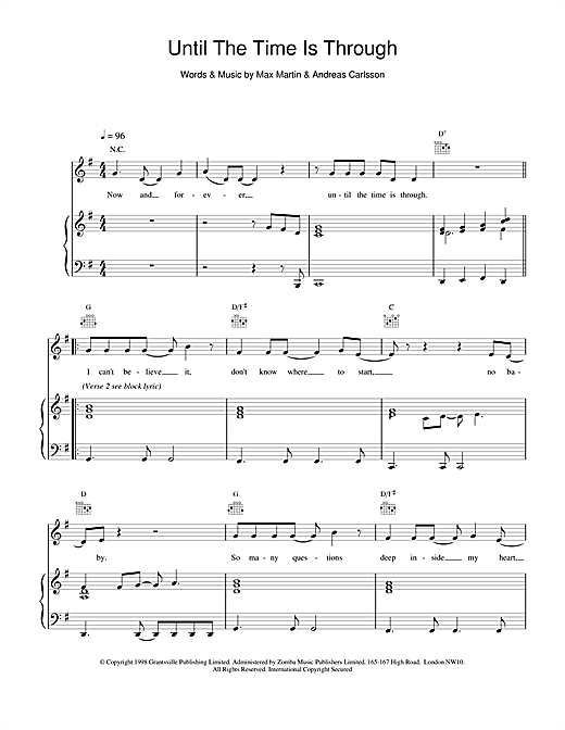 Five Until The Time Is Through sheet music notes and chords. Download Printable PDF.