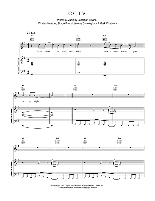 The Levellers CCTV sheet music notes and chords. Download Printable PDF.