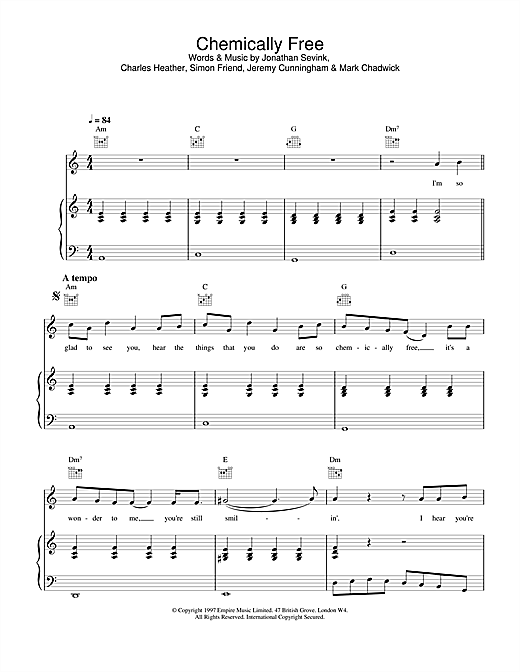 The Levellers Chemically Free sheet music notes and chords. Download Printable PDF.