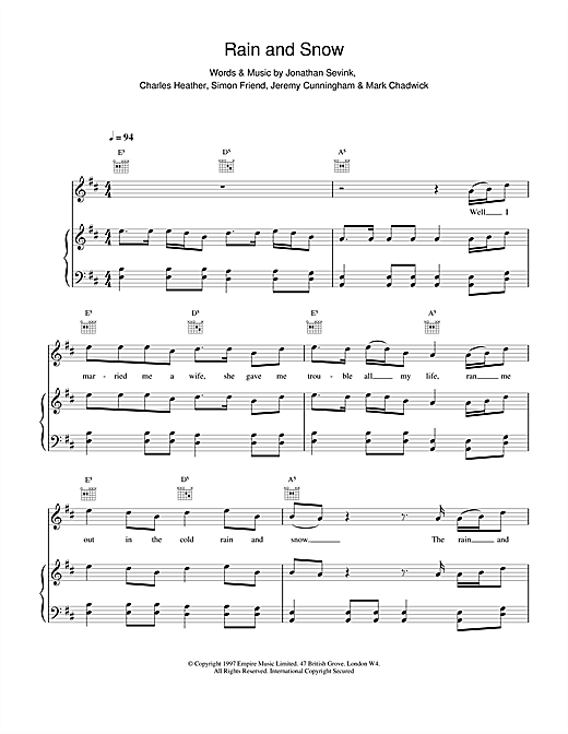 The Levellers Rain And Snow sheet music notes and chords. Download Printable PDF.