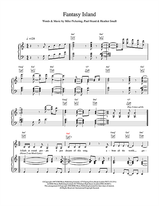 M People Fantasy Island sheet music notes and chords. Download Printable PDF.