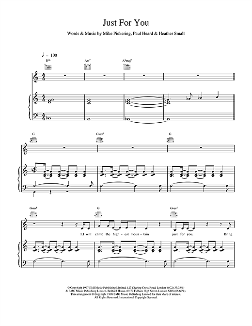 M People Just For You sheet music notes and chords. Download Printable PDF.