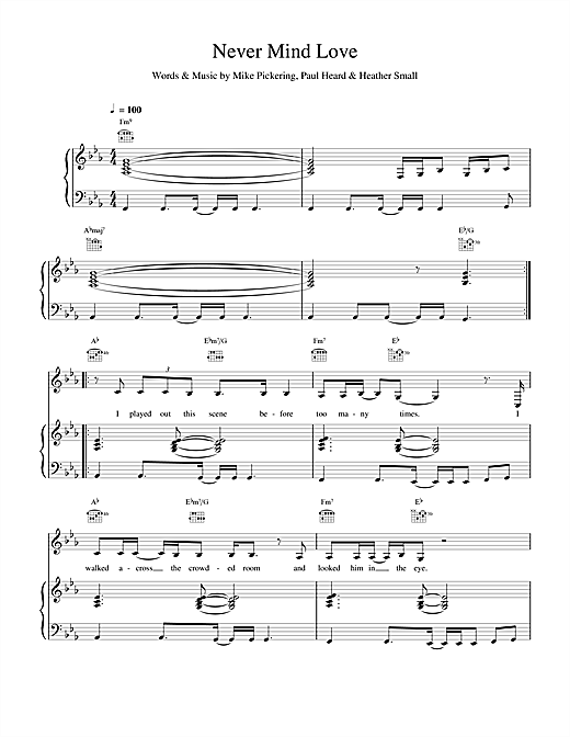 M People Never Mind Love sheet music notes and chords. Download Printable PDF.