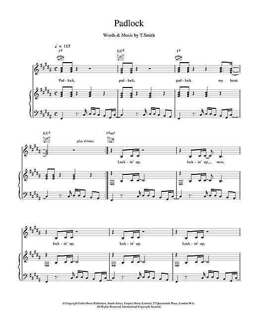 M People Padlock sheet music notes and chords. Download Printable PDF.