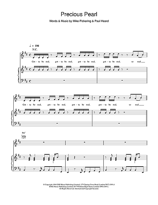 M People Precious Pearl sheet music notes and chords. Download Printable PDF.