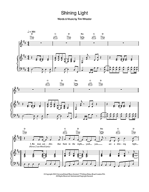 Ash Shining Light sheet music notes and chords. Download Printable PDF.