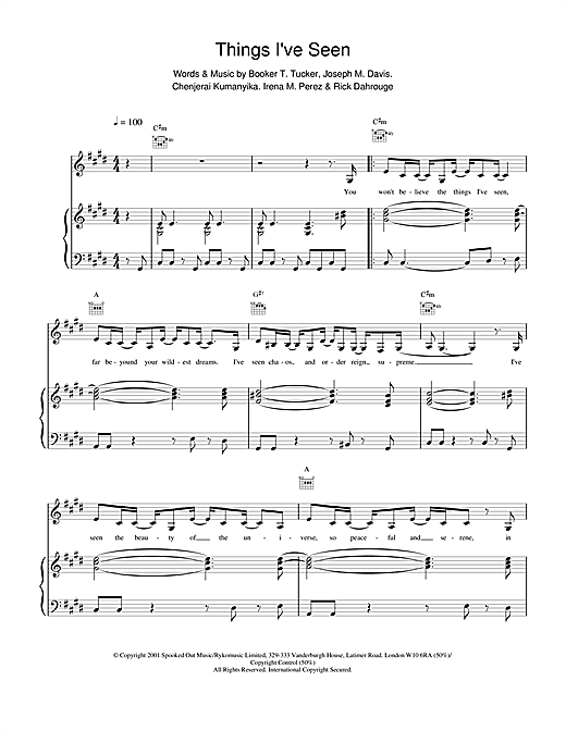 Spooks Things I've Seen sheet music notes and chords. Download Printable PDF.