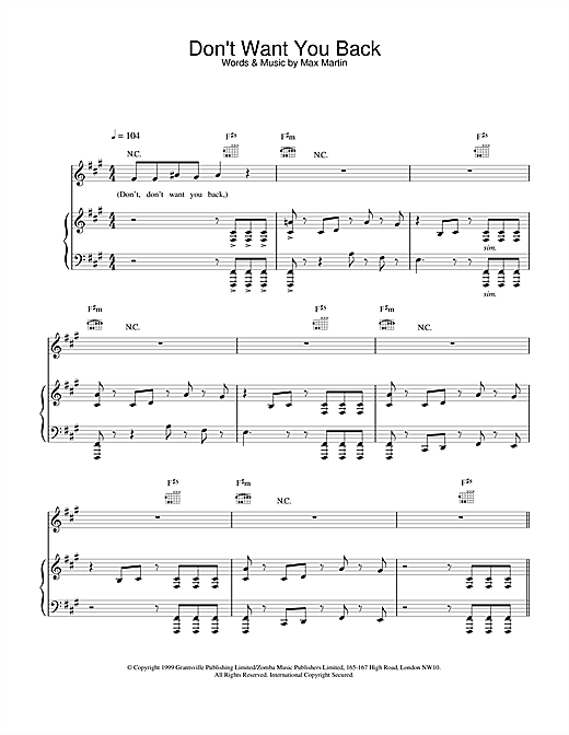 Backstreet Boys Don't Want You Back sheet music notes and chords. Download Printable PDF.
