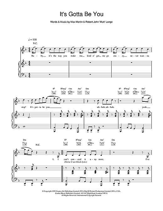 Backstreet Boys It's Gotta Be You sheet music notes and chords. Download Printable PDF.