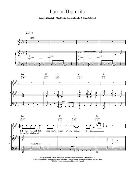 Backstreet Boys Larger Than Life sheet music notes and chords. Download Printable PDF.
