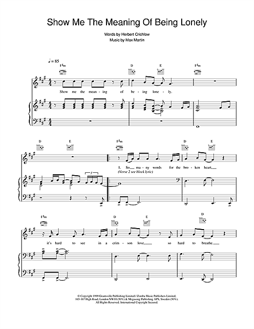 Backstreet Boys Show Me The Meaning Of Being Lonely sheet music notes and chords. Download Printable PDF.
