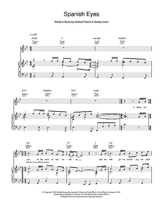 Backstreet Boys Spanish Eyes sheet music notes and chords. Download Printable PDF.
