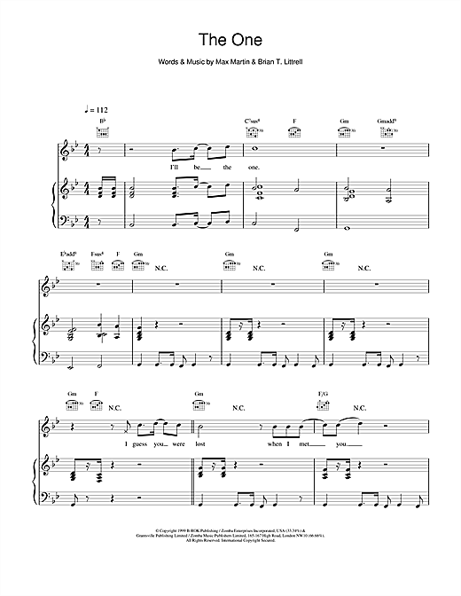 Backstreet Boys The One sheet music notes and chords. Download Printable PDF.