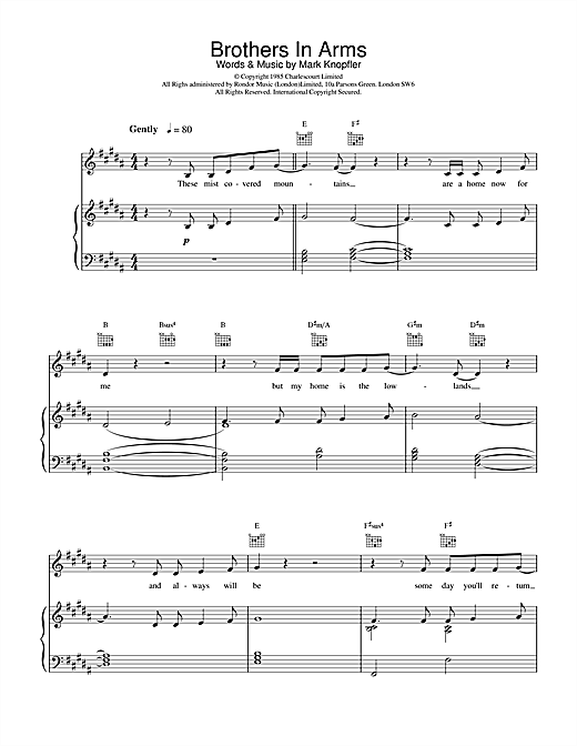 Dire Straits Brothers In Arms sheet music notes and chords. Download Printable PDF.