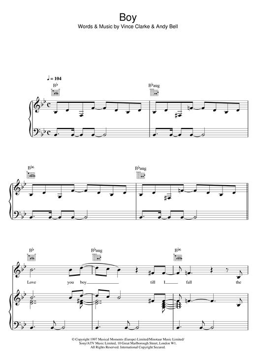 Erasure Boy sheet music notes and chords. Download Printable PDF.