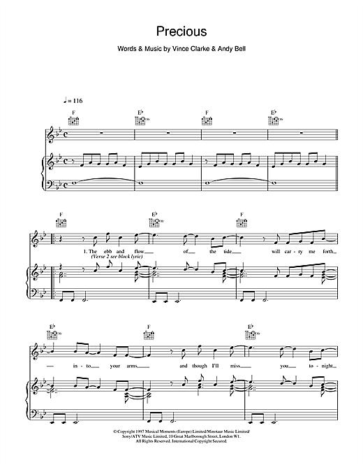 Erasure Precious sheet music notes and chords. Download Printable PDF.