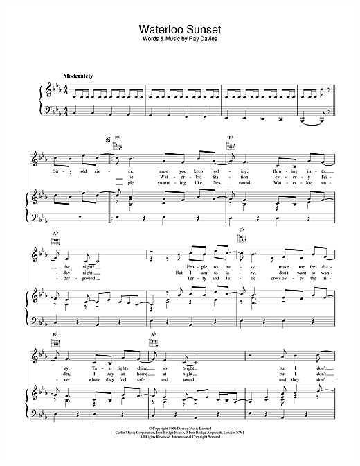 The Kinks Waterloo Sunset sheet music notes and chords. Download Printable PDF.