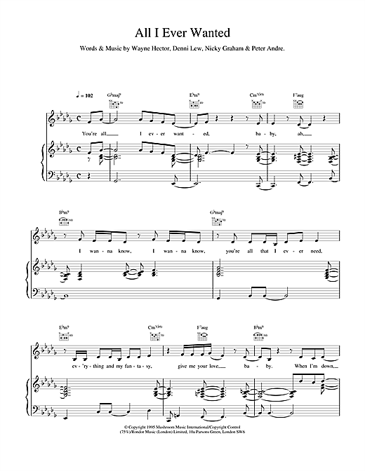 Peter Andre All I Ever Wanted sheet music notes and chords. Download Printable PDF.