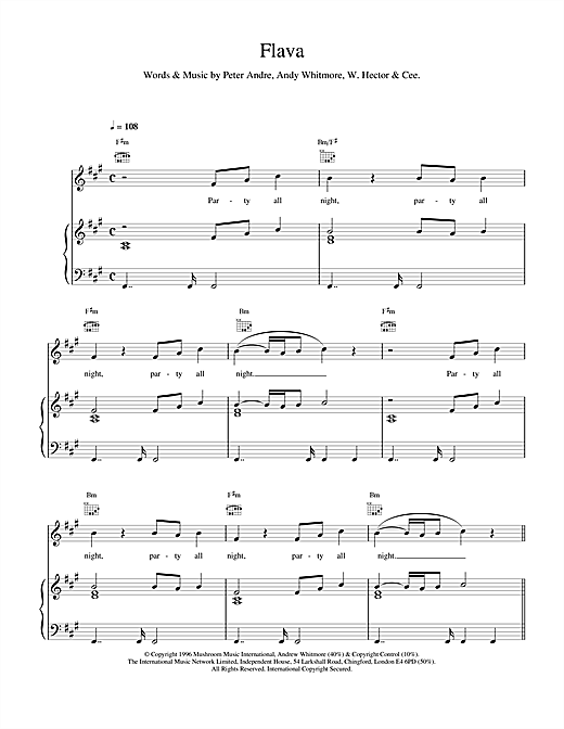Peter Andre Flava sheet music notes and chords. Download Printable PDF.