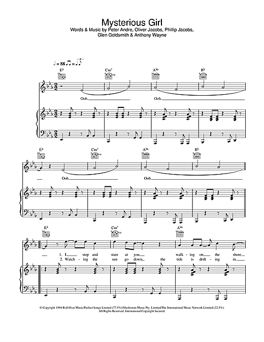 Peter Andre Mysterious Girl sheet music notes and chords. Download Printable PDF.