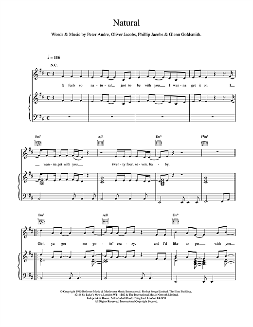Peter Andre Natural sheet music notes and chords. Download Printable PDF.