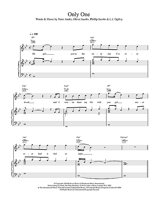 Peter Andre Only One sheet music notes and chords. Download Printable PDF.