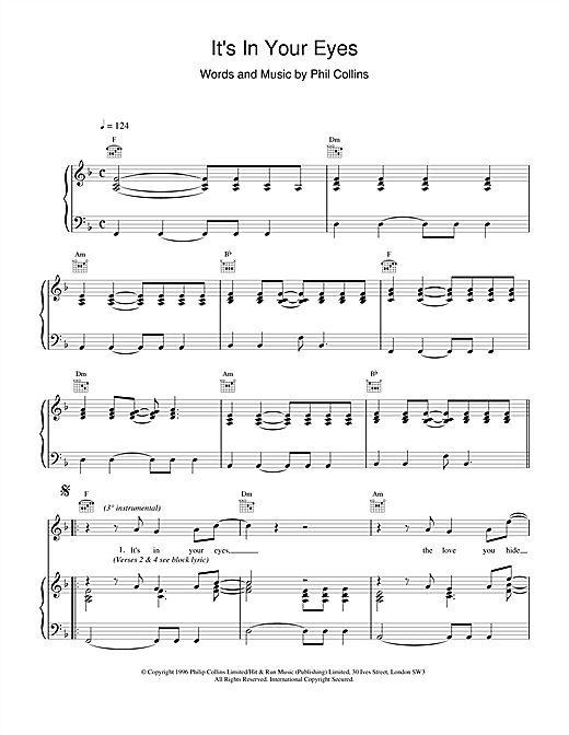 Phil Collins It's In Your Eyes sheet music notes and chords. Download Printable PDF.