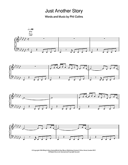 Phil Collins Just Another Story sheet music notes and chords. Download Printable PDF.