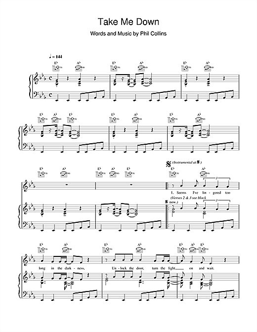 Phil Collins Take Me Down sheet music notes and chords. Download Printable PDF.