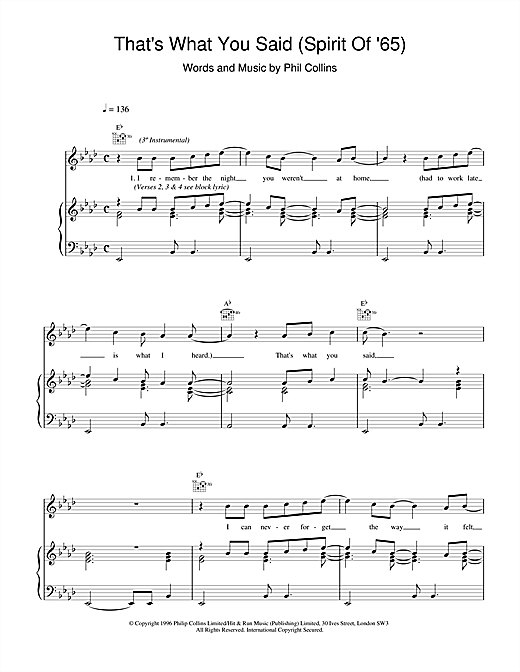 Phil Collins That's What You Said (Spirit Of '65) sheet music notes and chords. Download Printable PDF.