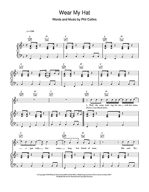 Phil Collins Wear My Hat sheet music notes and chords. Download Printable PDF.