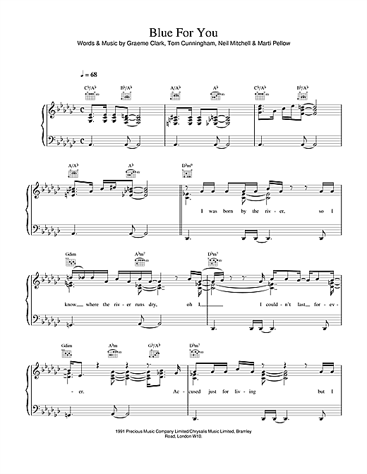 Wet Wet Wet Blue For You sheet music notes and chords. Download Printable PDF.