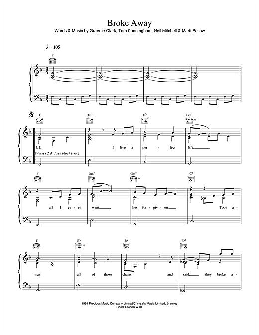 Wet Wet Wet Broke Away sheet music notes and chords. Download Printable PDF.