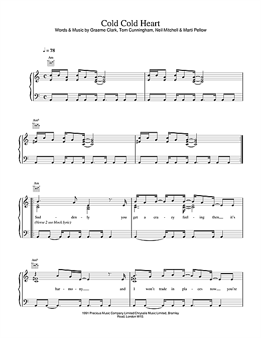 Wet Wet Wet Cold, Cold Heart sheet music notes and chords. Download Printable PDF.