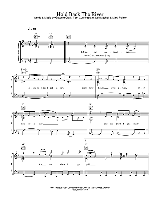 Wet Wet Wet Hold Back The River sheet music notes and chords. Download Printable PDF.