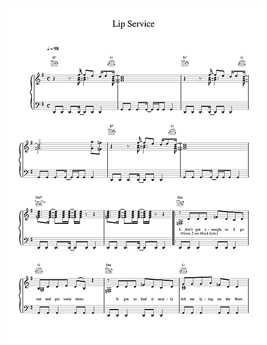 Wet Wet Wet Lip Service sheet music notes and chords. Download Printable PDF.