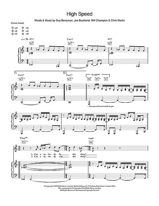Coldplay High Speed sheet music notes and chords. Download Printable PDF.