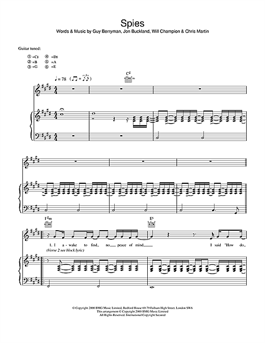 Coldplay Spies sheet music notes and chords. Download Printable PDF.
