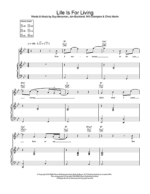 Coldplay Life Is For Living sheet music notes and chords. Download Printable PDF.