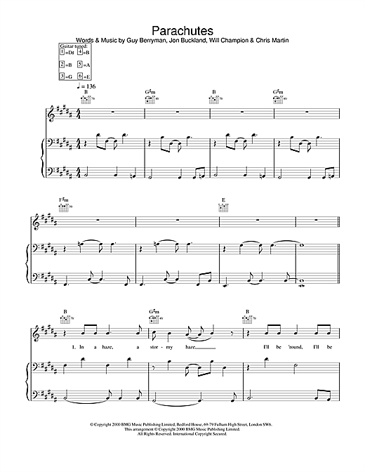 Coldplay Parachutes sheet music notes and chords. Download Printable PDF.