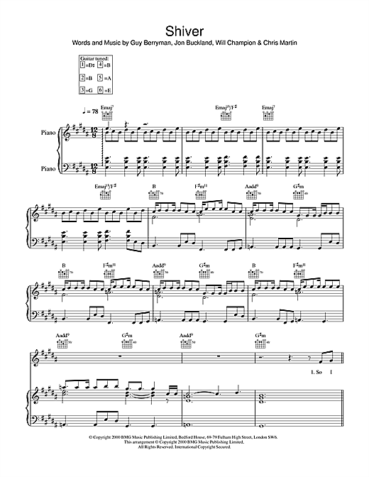 Coldplay Shiver sheet music notes and chords. Download Printable PDF.