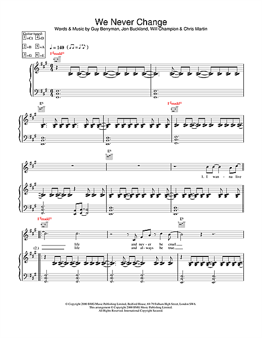 Coldplay We Never Change sheet music notes and chords. Download Printable PDF.