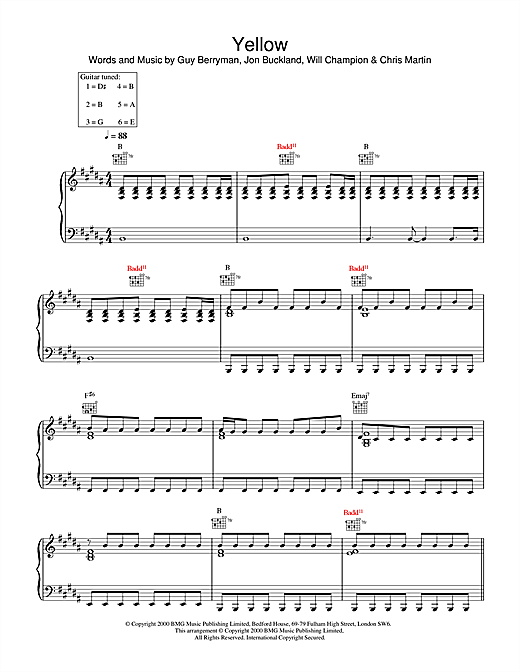 Coldplay Yellow sheet music notes and chords. Download Printable PDF.