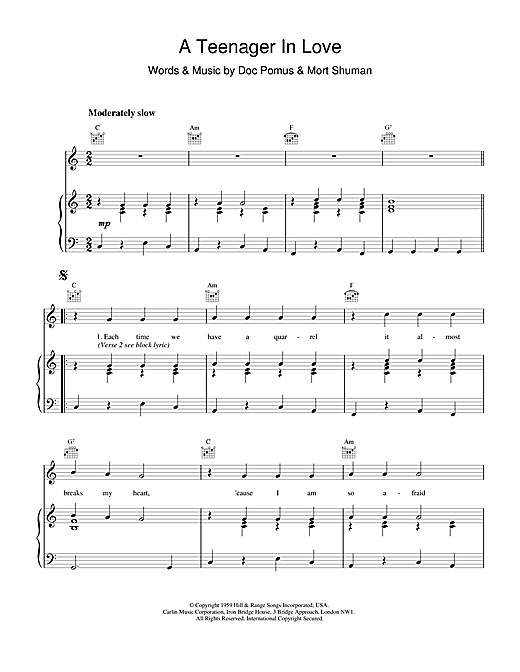 Dion & The Belmonts A Teenager In Love sheet music notes and chords. Download Printable PDF.